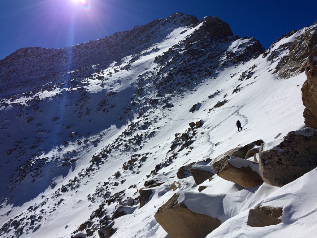 Mt. Bierstadt descent winter