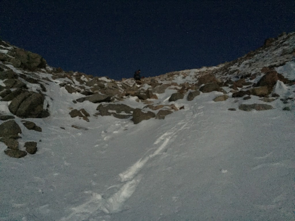 Descending the gully