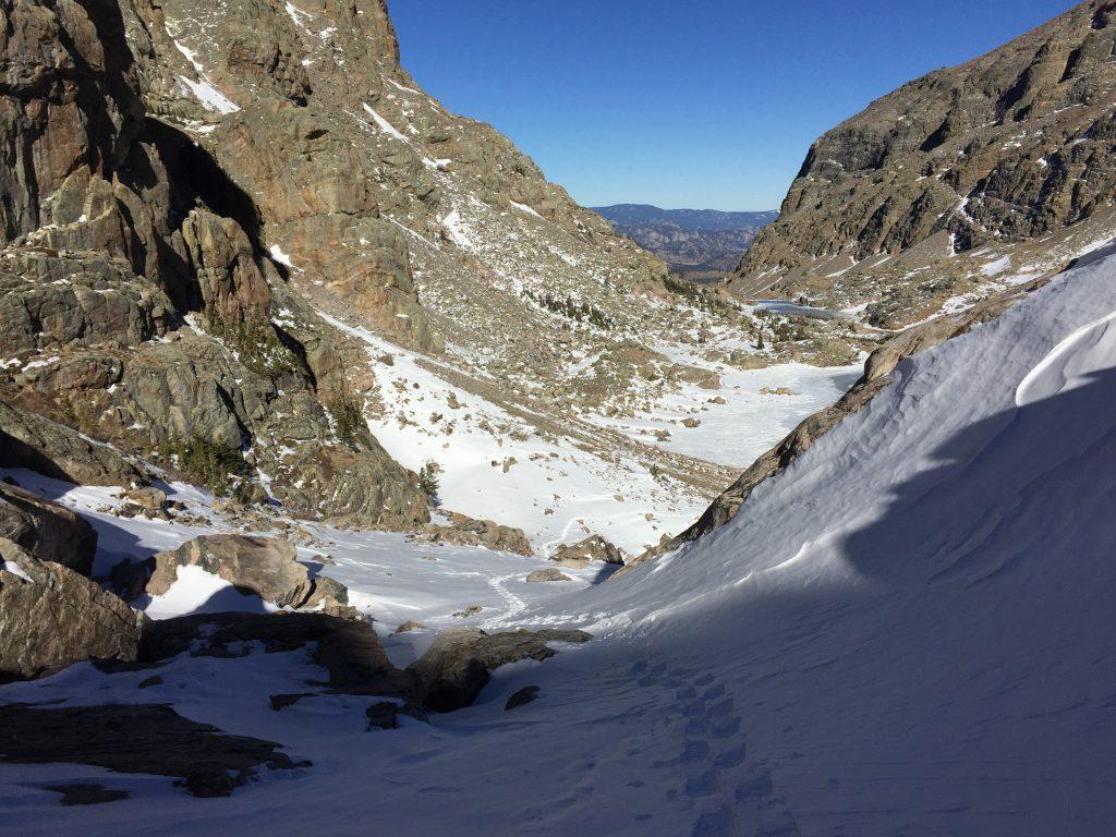 Loch Vale, Climbing Taylor Glacier, Rocky Mountain National Park, Winter mountaineering, Grayson Cobb